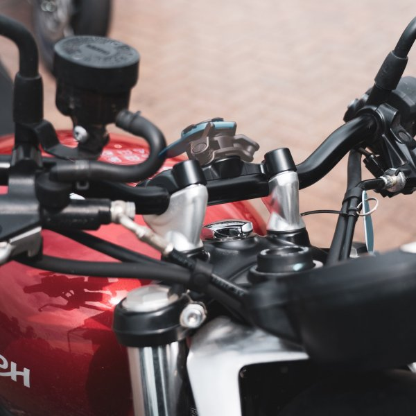 a picture of a Street Twin Bar clamp mount on a motorcycle